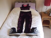 ladies sport or gym wear and fashion trainers.