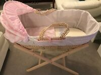 Clair de Lune Moses Basket Pink Polka & Folding Stand - Pine - Price negotiable !