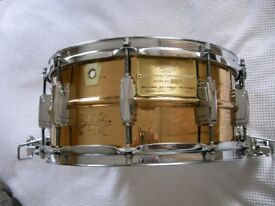 "Ludwig 75th Anniversary machine engraved seamless bronze Supersensitive snare drum 14 x 6 1/2"" -'84"