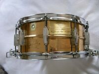 """Ludwig 75th Anniversary machine engraved seamless bronze Supersensitive snare drum 14 x 6 1/2"""" -'84"""