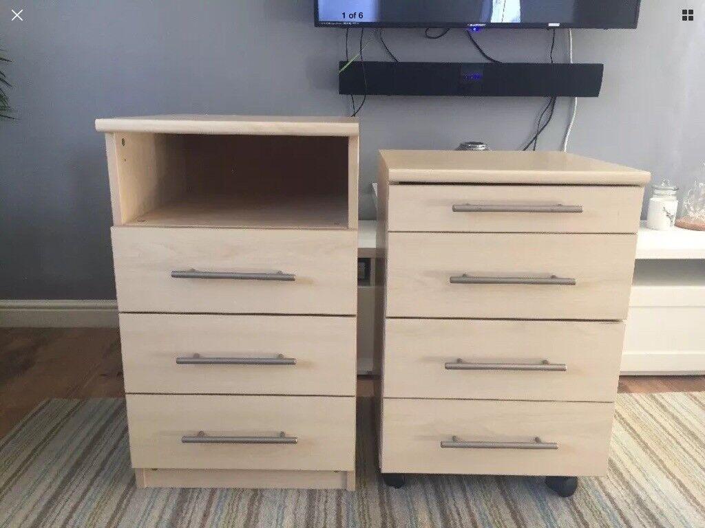2x Beech Oak Under Desk Height Draws Drawers Office Home