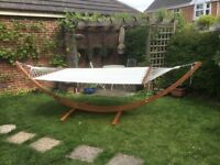 Outsunny garden hammock with free standing larch wood frame. Double with capacity 180 kegs.