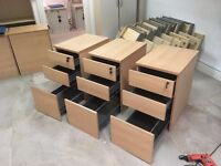 FREE Three under table drawer and filing cabinet units with keys. Collection only.