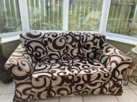 2 Seater Brown/Cream Sofa