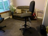 HIGH BACK GAS CONTROLLED SWIVEL OFFICE CHAIR DRAUGHTSMAN /ENGINEER STYLE