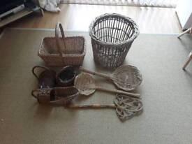 Willow baskets, log basket, flower arranging baskets