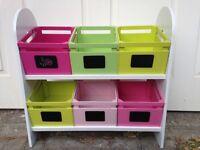 Vertbauded Kids Wooden Storage Box Shelf