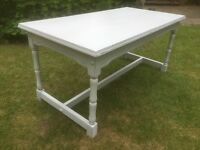 Hand painted vintage oak coffee table in light grey