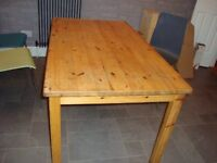 Ikea Pine Kitchen / Dining Table. 140cm x 80cm with 50cm extension leaf.