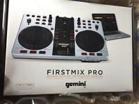 Gemini FirstMix Pro Advanced USB MIDI DJ Controller With Soundcard & Headphone