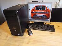 Intel pentium dual core, e6500 , 2 gb ram, 320 gb hdd, win 10, flat screen monitor, keyboard, mouse