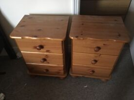 2 Ikea pine finish bedside tables
