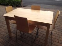 LOVELY IKEA SOLID WOOD TABLE AND 4 CHAIRS IN BIRCH