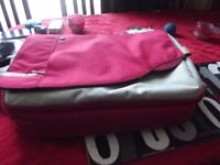 large red and gray laptop bag