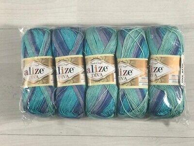 5 x 100g Balls Batik Design Alize Diva Knitting Crochet Yarn Wool...