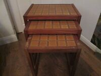 Tiled top nest of tables