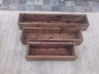 Wooden Garden Planter, Wood Window Box, Patio Planters With Liners