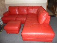 DFS Red leather corner sofa
