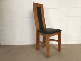 Wren Oak And Faux Leather Waved Back Dining Chairs Set Of 4
