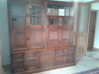 OLD CHARM FURNITURE WALL UNIT DISPLAY WITH BUREAU TUDOR BROWN LEADED GLASS LIGHTS EXCELLENT STORAGE