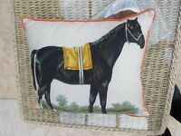 WONDERFUL BRAND NEW ANTIQUE STYLE HORSE CUSHIONS @ £10 EACH SHABBY CHIC CLASSIC STRIPE REVERSE