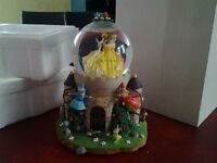 Rare Disney Princess Cinderella Castle Sleeping Beauty Belle Musical Snowglobe
