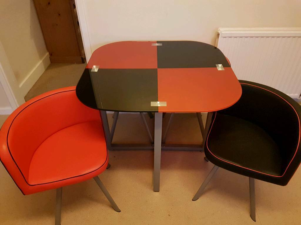 Glass Dining Table And 4 Faux Leather Chairs Space Saver