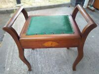 Antique piano stool with storage