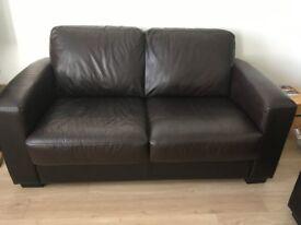 DFS Dante III Warm Brown Leather 2 Seater Sofa