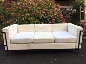 Corbusier style 3 seater fabric sofa