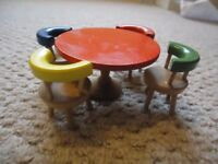 Vintage wooden dolls house furniture dining room table and chairs