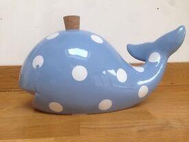 Whale Money box blue polka dot china nursery christening