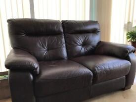 Brown leather sofas x 2