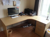 CORNER OFFICE DESK WITH DRAWERS + 2 DOOR CUPBOARD (EXCELLENT CONDITION) GREAT QUALITY