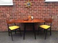 Vintage TEAK Dining Table & Chairs G Plan Style Mid Century Retro 60 70s Yellow