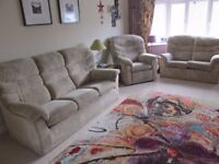 G-Plan Malvern lounge suite comprising 3-seater sofa, 2-seater sofa and manual recliner chair