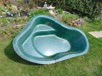 glass fibre fish pond, size 165 cm long 106 wide 40 cm depth