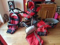 Bebecar travel system, carrycot, buggy and car seat, 3 wheeler in sport red.