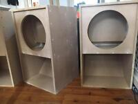 "15"" mini scoop bass bin speaker boxes (PAIR)"