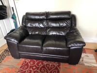 Double seat leather sofa - great condition - balham collection