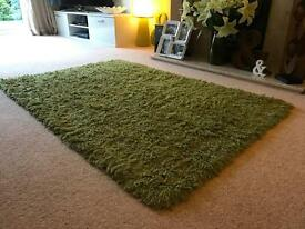 "100% wool green rug, NEXT 60"" x 40"" Hucclecote"
