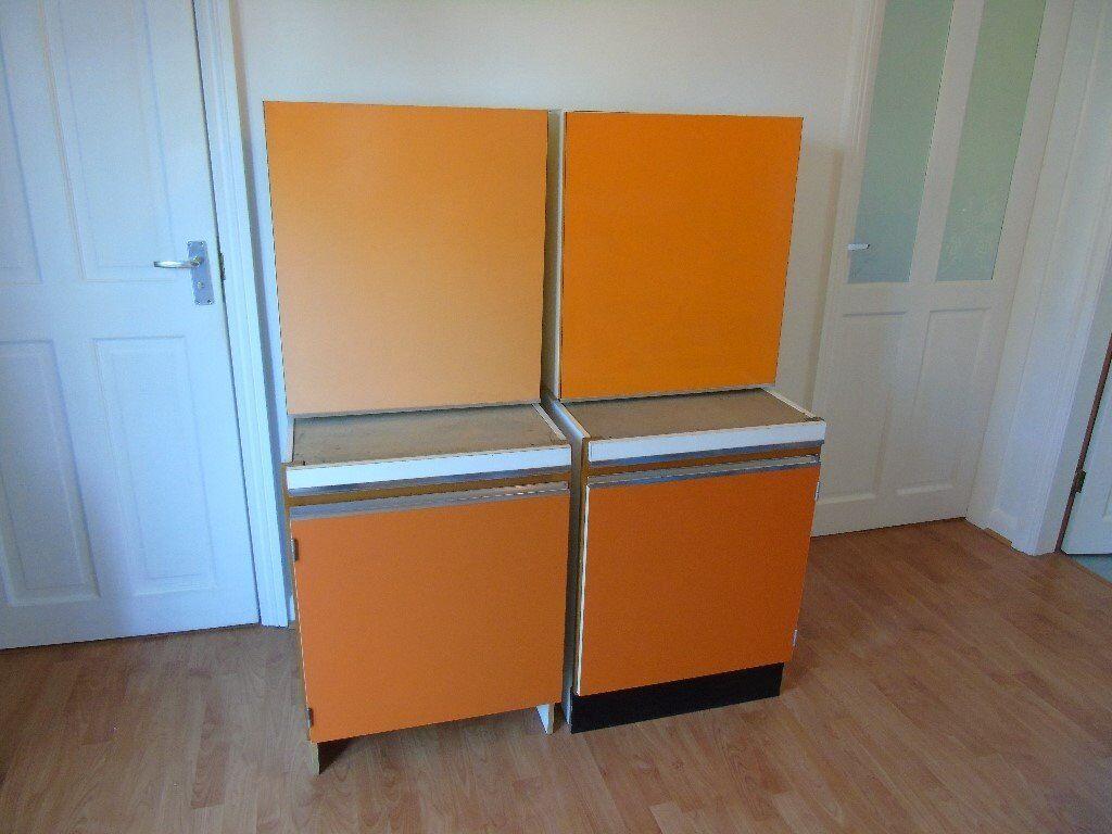 Retro Genuine 1960 S Orange Kitchen Units