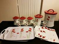 Poppy design tea coffee sugar bread biscuit barrels cups trays and table mats