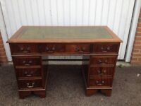 Twin Pedestal Desk leather top with Key