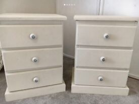Pine shabby chic bedside tables