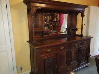 Vintage solid oak sideboard