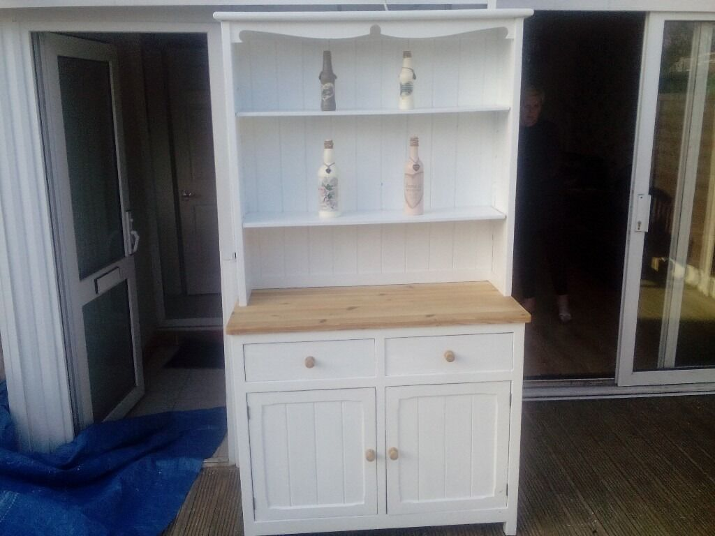 Pine solid shabby chic welsh dresserin Braintree, EssexGumtree - Pine solid shabby chic welsh dresser top of base natural pine and handle the rest painted in white farrow and ball paint top lift off for transport all solid pine size 74 high 18 deep 43 wide inches Braintree