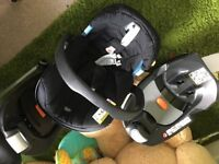 2 x cybex isofix bases and 1x mamas and papas Aton car seat 0+ group