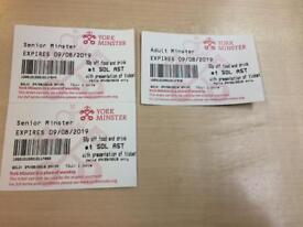 Three York Minster ticket for sale