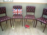 Stunning Leather Oxblood Chesterfield Dinning Chairs.